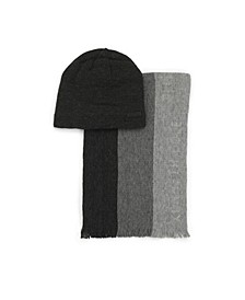 Men's 2-Piece Striped Scarf and Fleece Lined Beanie Set