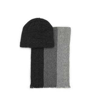 Kenneth Cole Reaction Men's 2-Piece Striped Scarf and Fleece Lined Beanie Set