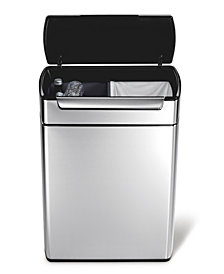 simplehuman Brushed Stainless Steel 48 Liter Fingerprint Proof Touch Bar Dual Recycler Trash Can
