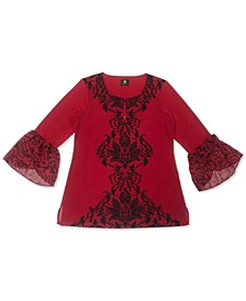 Plus Size Stencil Flutter-Sleeve Embellished Top, Created for Macy's