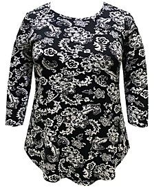 Plus Size Tiana Printed Top, Created for Macy's