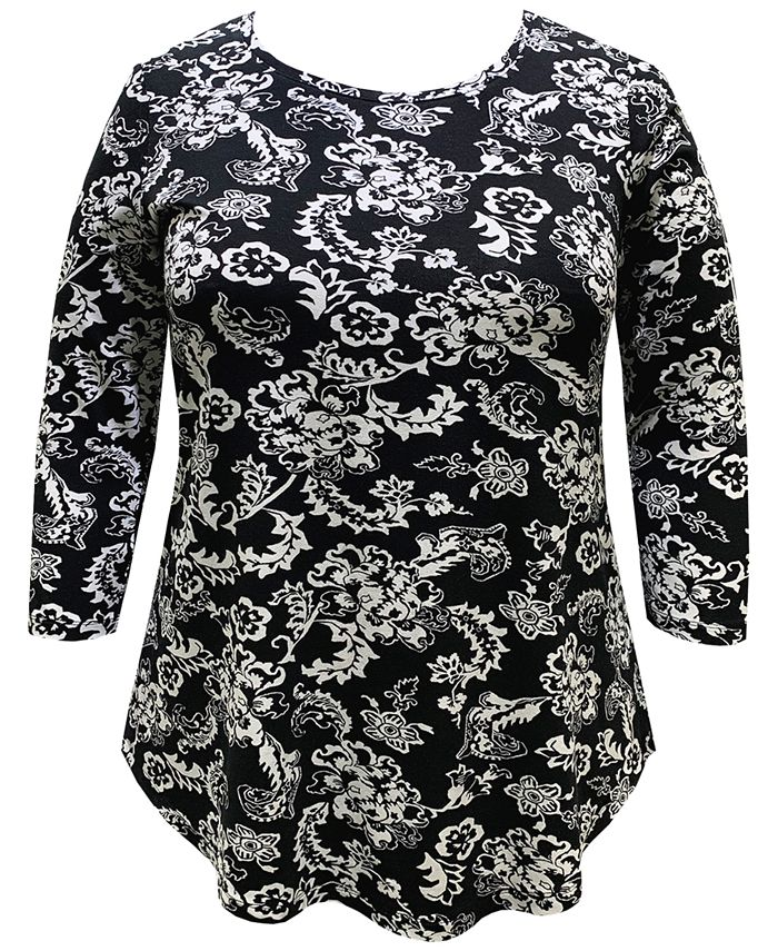 JM Collection - Plus Size Tiana Printed Top
