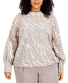 Plus Size Metallic Zebra-Print Bubble Top, Created for Macy's