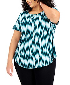 Plus Size Printed Knit Top, Created for Macy's