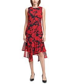 Floral-Print High-Low Midi Dress