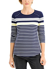 Petite Striped Rivet T-Shirt, Created for Macy's
