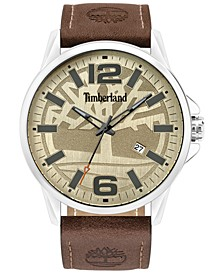 Men's Brown Leather Strap Watch 45.5mm