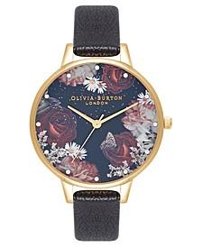 Women's Winter Blooms Black Leather Strap Watch 30mm