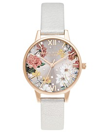 Women's Sparkle Floral Shimmer Pearl Leather Strap Watch 30mm