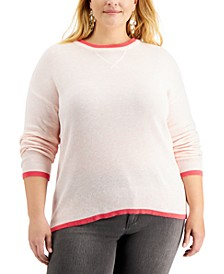 Plus Size Thermal Waffle Pullover Sweater, Created for Macy's