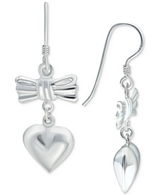 Bow & Heart Drop Earrings in Sterling Silver, Created for Macy's