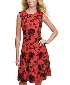 Velvet-Flocked Shadow Floral Scuba Dress
