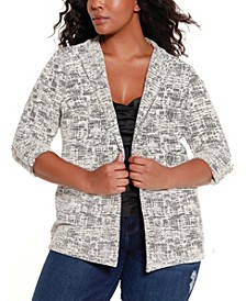Black Label Women's Plus Size Knit Jacquard Jacket