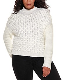 Black Label Women's Plus Size Mock Neck Pullover Sweater