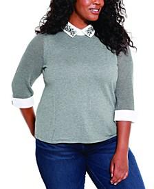 Plus Size Rhinestone Collared Pullover Sweater