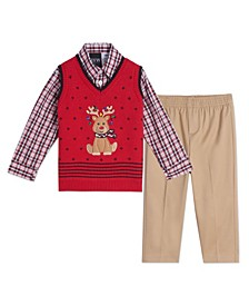 Baby Boys Holiday Deer Sweater Vest Set