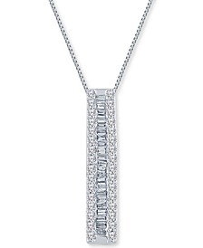 """Diamond Vertical Bar 18"""" Pendant Necklace (1/2 ct. t.w.) in Sterling Silver"""