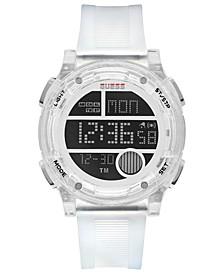 Men's Digital White Silicone Strap Watch 45mm