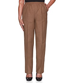 Petite Classic Textured Short Solid Pull-On Pants