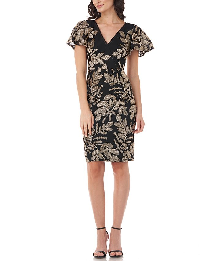 JS Collections - Embroidered Flutter-Sleeve Sheath Dress