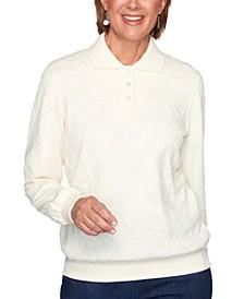 Petite Floral-Jacquard Polo Shirt