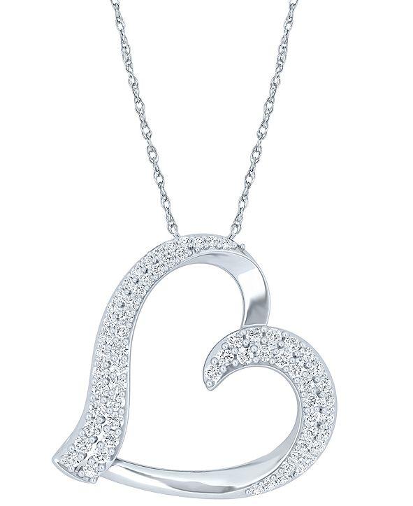 "Macy's Diamond Heart 18"" Pendant Necklace (1/2 ct. t.w.) in Sterling Silver"