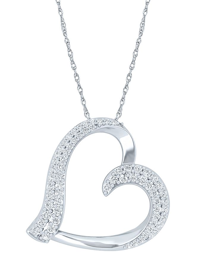 "Macy's - Diamond Heart 18"" Pendant Necklace (1/2 ct. t.w.) in Sterling Silver"