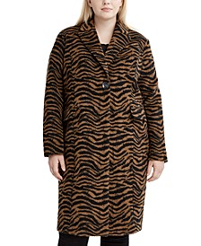 Plus Size Zebra-Print Walker Coat, Created for Macy's