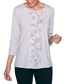 Petite Madison Avenue Center Floral Embroidered Top