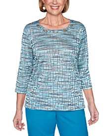 Petite Textured Space-Dye Knit Top
