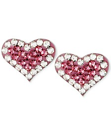 Silver-Tone Heart Pink Crystal Stud Earrings