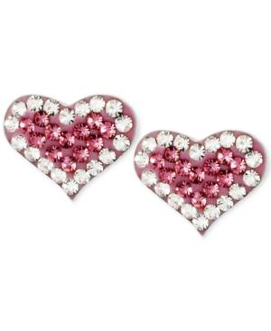 Silver-Tone Heart Pink Crystal Stud Earrings