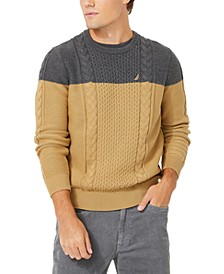Men's Colorblocked Cable Crewneck Sweater