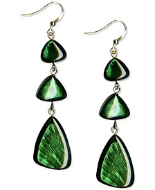 Gold-Tone Green Resin Shell Triple Drop Earrings, Created for Macy's