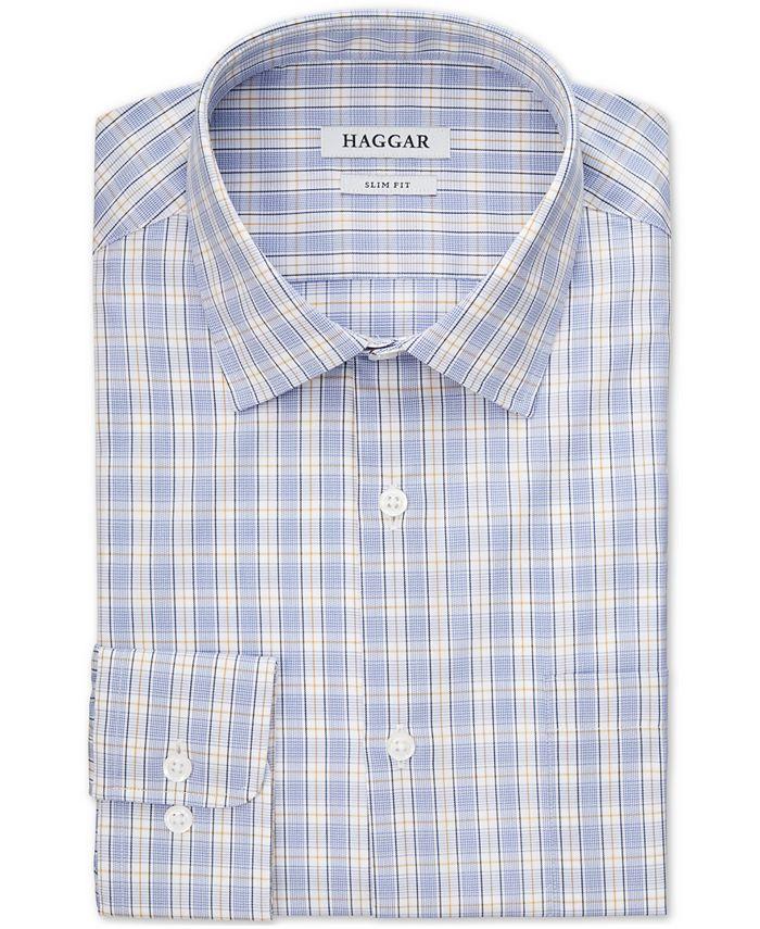 Haggar - Men's Gold Check Stretch Dress Shirt