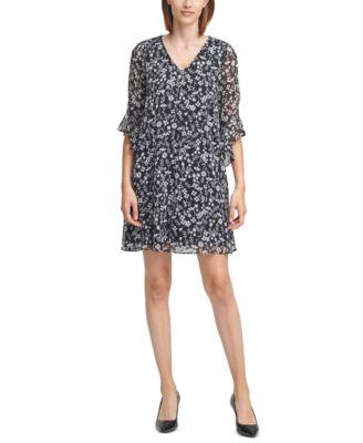 Printed Chiffon-Sleeve Dress