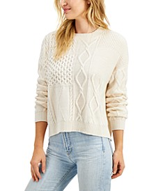 Juniors' Patchwork Cable-Knit Sweater