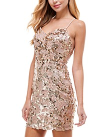 Juniors' Plunge-Neck Sequined Dress