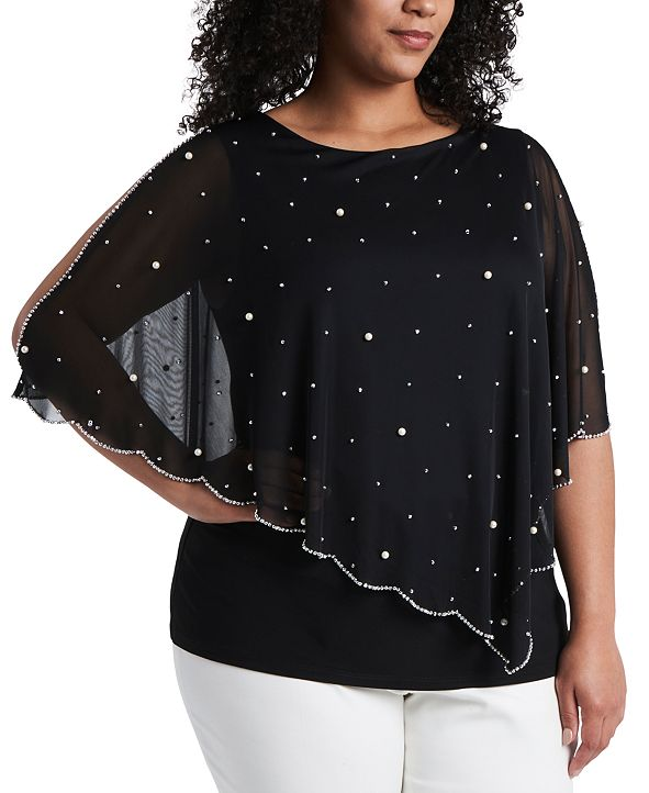 MSK Plus Size Beaded Overlay Top
