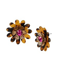 Tortoise Daisy Button Earrings