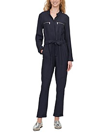 Belted Long-Sleeve Jumpsuit