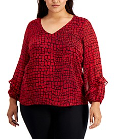 Plus Size Printed Ruffle-Sleeve Top