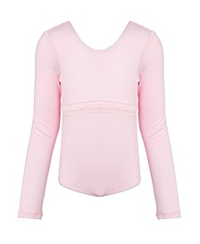Little and Big Girls Long Sleeve Lace Detail Leotard