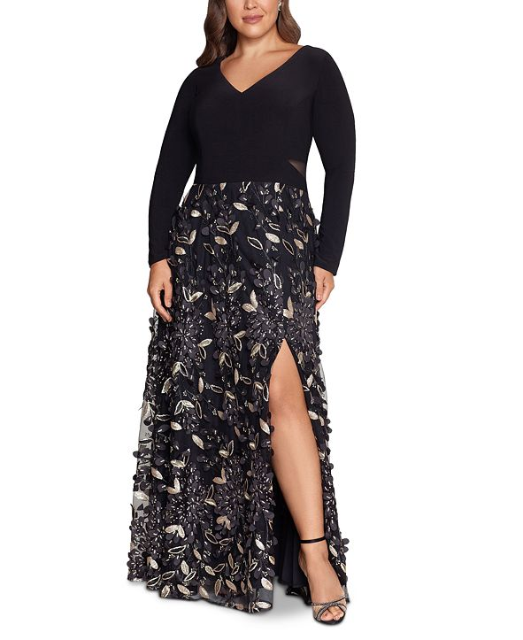 XSCAPE Plus Size Embellished-Skirt Gown