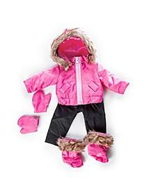 """18"""" Doll Clothes, 6 Piece Zippered Pink Ski Jacket, Pants, Gloves, Boots, Compatible with American Girl Dolls"""