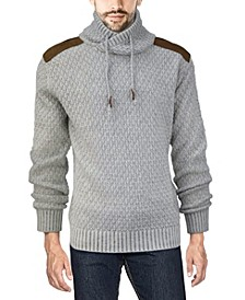 Men's Shawl Collar Sweater with Faux Leather Piecing
