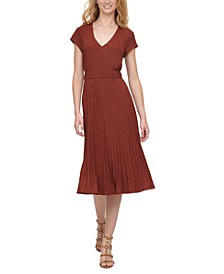 Textured Midi V-Neck Knit Dress