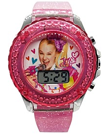 Kid's JoJo Swia Digital Pink Glitter Silicone Strap Watch 36mm