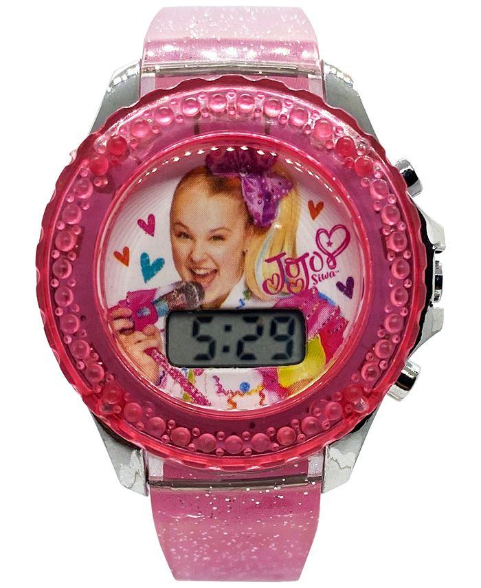 Accutime - Kid's JoJo Swia Digital Pink Glitter Silicone Strap Watch 36mm