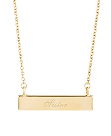 14K Gold Plated Sister Bar Necklace
